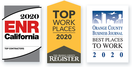 2020 ENR California - Top Contractors; The OC Register - Top Places to Work; Orange County Business Journal - Best Places to Work, 2020